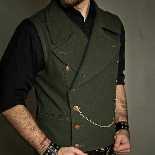 Flashmay VintageDouble-breasted Pure Color Men Vest