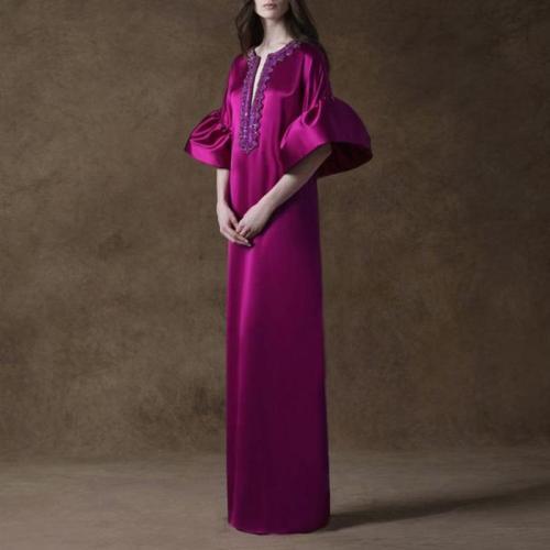 Ladies British Vintage Elegant Petal Sleeve Purple Evening Dress