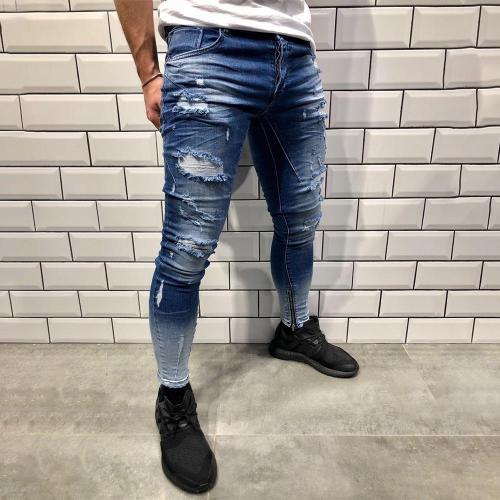 Fashion Gradient Ripped Holes Jeans