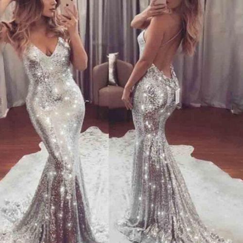 Fashion Sexy Deep V Sequin Evening Dress