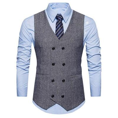 Autumn Men's Fashion Vintage Double-breasted Suit Vest New Sleeveless Business Party Slim Fit Waistcoat