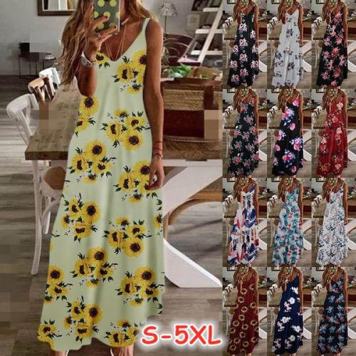 Woman Summer Sexy Boho Camis Floral Maxi Dress Plus Sizes  Woman's Casual Dresses