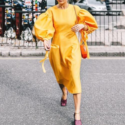Women's Fashion Simple Solid Color Lantern Sleeve Dress