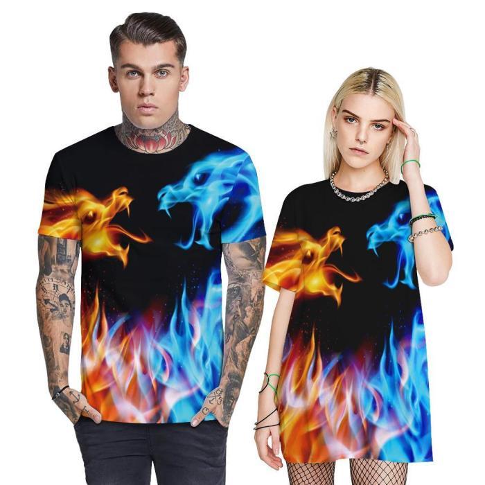 3D Flame Dinosaur Printed Funny Men T-shirt Loose Casual Novelty Short Sleeve Tees Top