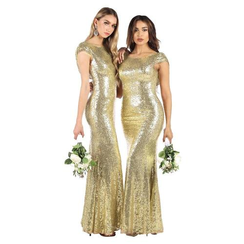 golden Prom Dress Long elegant ceremony party dresses Round collar sequins evening dresses sexy mermaid evening gowns