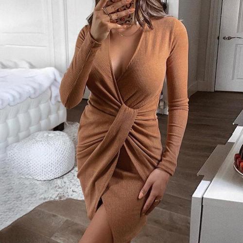 Solid Twist Front Rib Dress