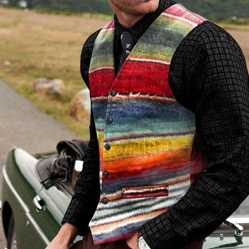 Flashmay Men's Casual Color Buckle Vest