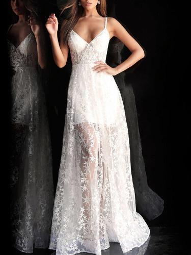 Elegant V Neck Sleeveless See-Through Splicing Evening Dress