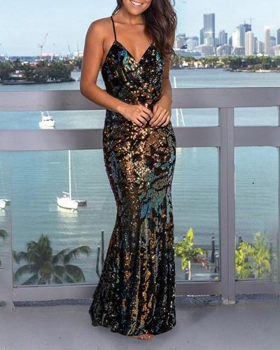 Strap Fashion Sequin Evening Dress