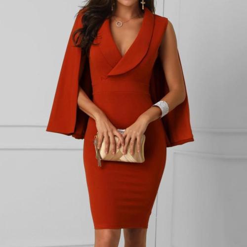 Surplice Front Cape Design Bodycon Dress