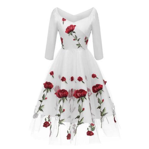 Women  Big Size The embroidery evening Dress Elegant Net yarn Dress Female 7 minutes  sleeve Evening Party Dresses formal dress