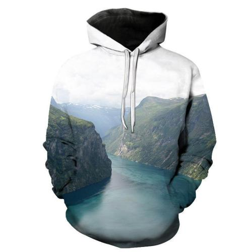 Fashion Loose Mountain And River  Floral Printed Hoodie With Hat