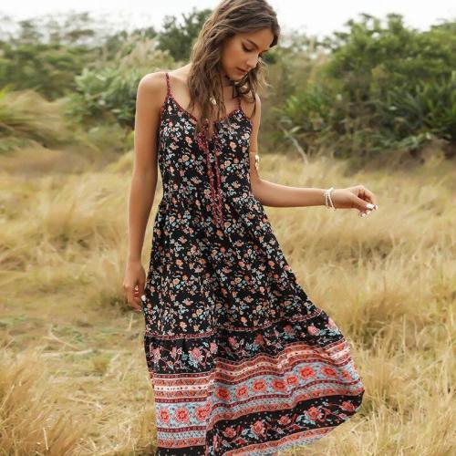 2020 Casual Summer Sleeveless Boho Long Dress Women Beach Dress Vintage Streetwear Loose Sexy Ladies Black Maxi Dresses