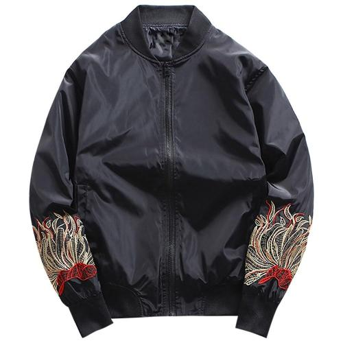 Embroidery Polyester Stand Collar Jacket for Men Gift 3505