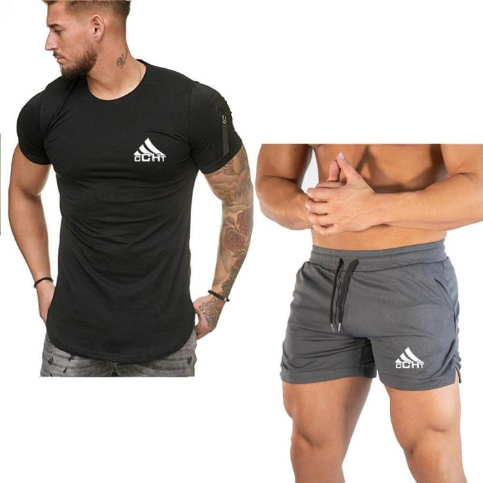 Summer sports suit men's casual trendy student short-sleeved compassionate and handsome two-piece suit