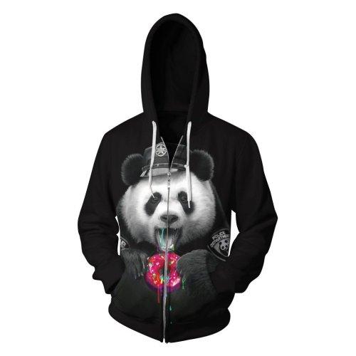 Panda Printed Zipper Fleece Hooded Sweatshirt
