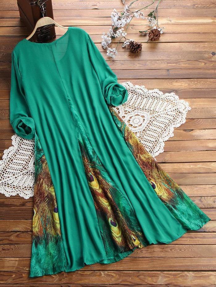 O-NEWE Vintage Printed Chiffon Patchwork Long Sleeve Maxi Dress