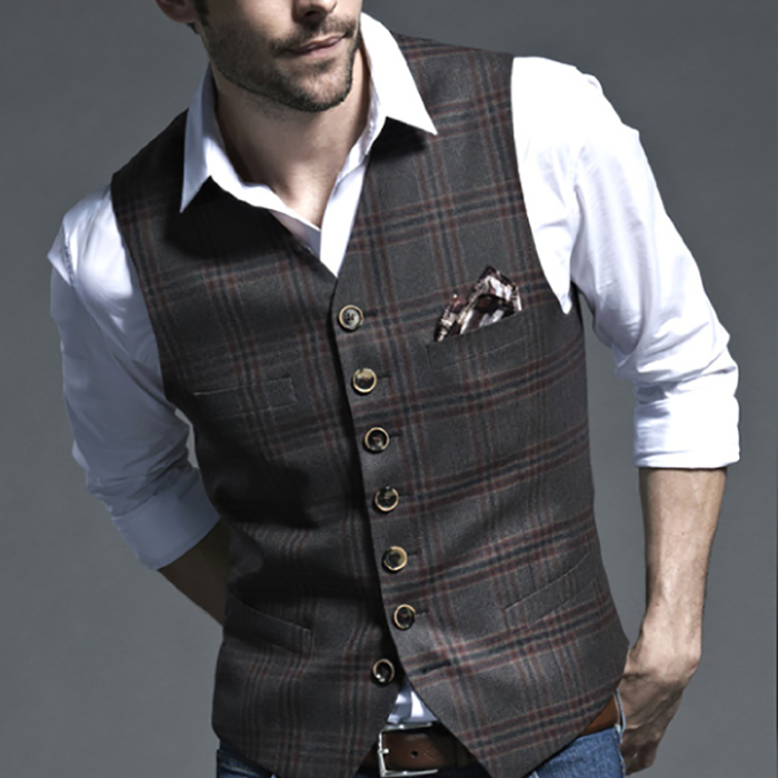Single Breasted Checked Suit Waistcoat