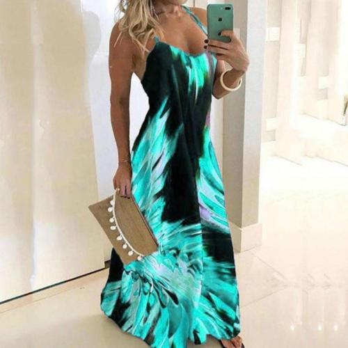 Vintage Leaf Print Dress Sexy Spaghetti Strap V Neck Long Dress Women Summer Big Swing Beach Dresses Party Tunic Plus Size 5XL
