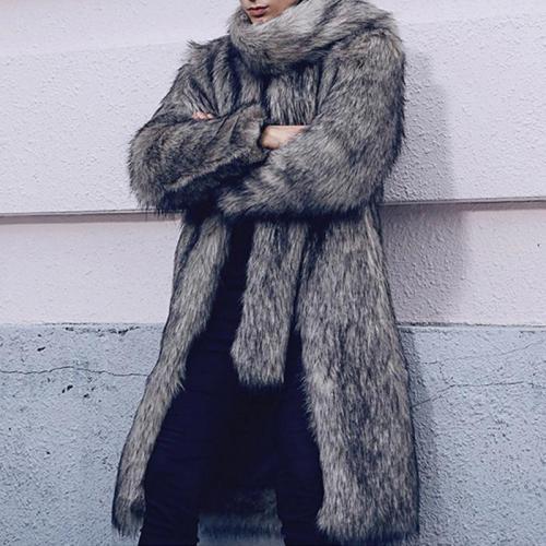 Faux Fur Fox Fur Warm Lapel Men's Casual Coat