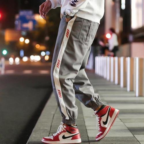 Tide Brand Japanese Men's Trousers Street Loose Striped Letters Beam Feet Casual Pants Male