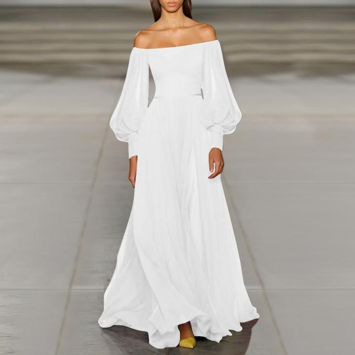 Sexy Off-The-Shoulder Party Princess Sleeve Maxi Dress