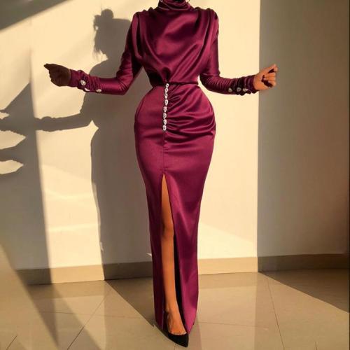 Sexy Elegant Long Sleeve Side Slit Wrinkle Evening Dress
