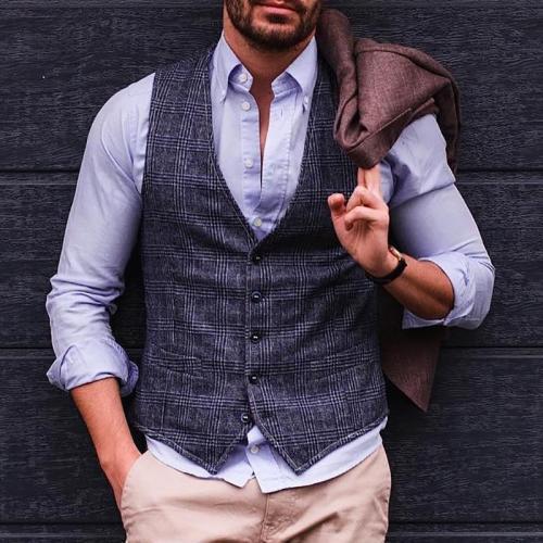 Mens casual Classic Plaid Vest
