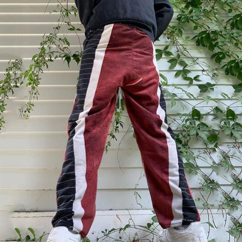 Stylish casual black and white striped mens pants TT010