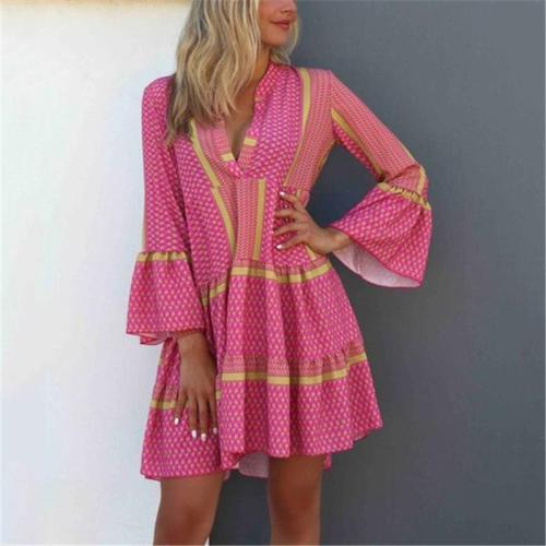 Bohemian V-Neck Flared Sleeve Casual Mini Dress