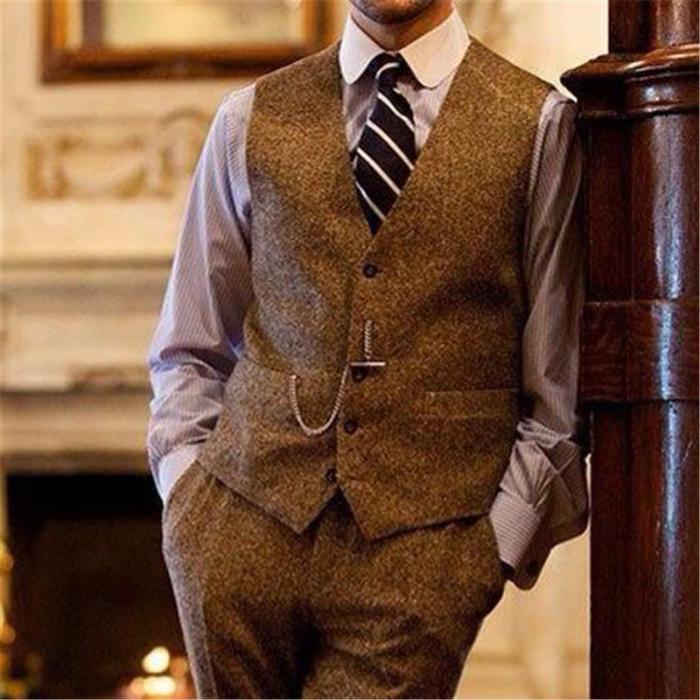 British Style V Neck Single Breasted Plaid Vest