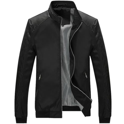 5XL Spring New Men's PU Patchwork Jackets Casual Men Bomber Polo Windbreaker Thin Jackets Solid Slim Male Coats Brand Clothing
