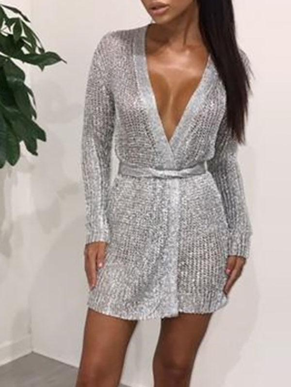V-Neck Knit Nightclub Sexy Bodycon Mini Dress