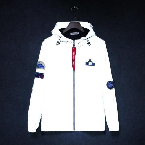 Men's windbreaker tide brand hooded Fluorescent jackets waterproof Men Hip Hop Patch Designs Pilot 3M reflective jacket coat man
