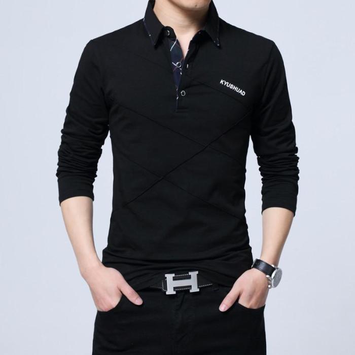 2020 Men Cotton Slim Solid Colored Polo Shirt