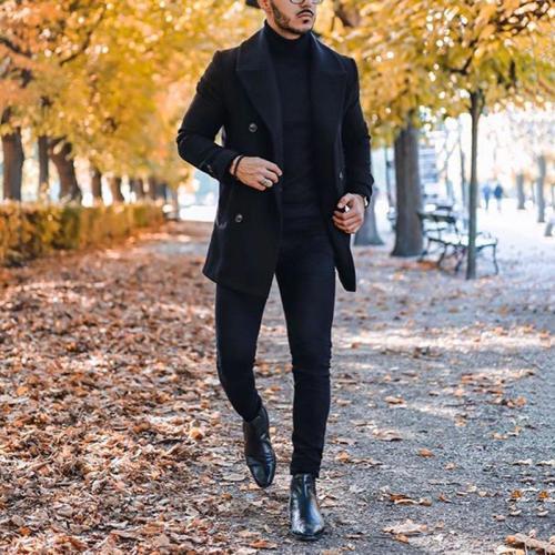 Men's Fashion Pure Color Double-breasted Turndown Collar Coat