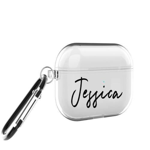 Custom Name Clear AirPods Pro Case Shockproof Cover Set