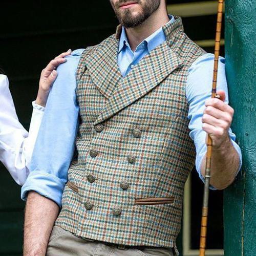Flashmay Vintage Plaid A Lapel Men Vest