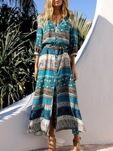 Pretty Chiffon Bohemia Floral 3/4 Sleeve V Neck Maxi Dress 01