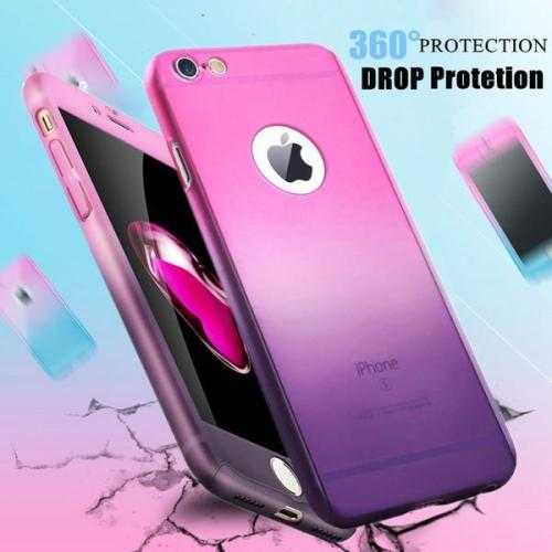 Fashion 360 Full Protection Gradient Case For iPhone X 8 7 6S 6/Plus + Free Glass Film