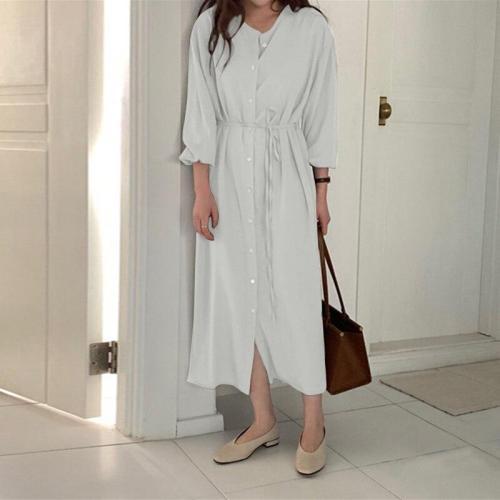 2020 Autumn Shirt Dress Elegant Puff Sleeve Maxi Vestidos Female Button Solid Oversize Maxi Dresses