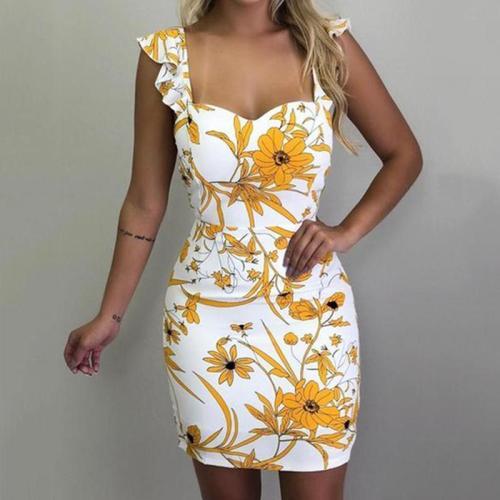 Sexy Print Bare Shoulder Dress