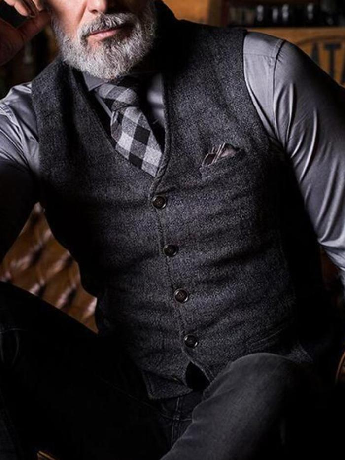 Retro Solid Color V-Neck Single-Breasted Male Vest