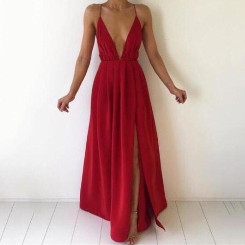 Elegant Beach Bridesmaid'S Ground Mopping Long Party Dresses Lady Sexy Low Cut Vestidos Solid Chiffon Backless Deep V Maxi Dress