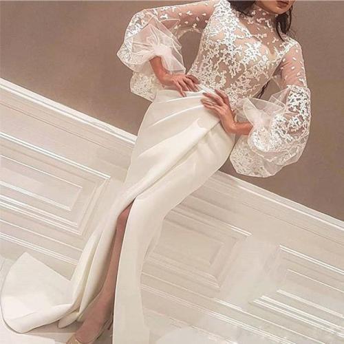 Elegant Bishop Sleeve See-through Slit Bodycon Dress