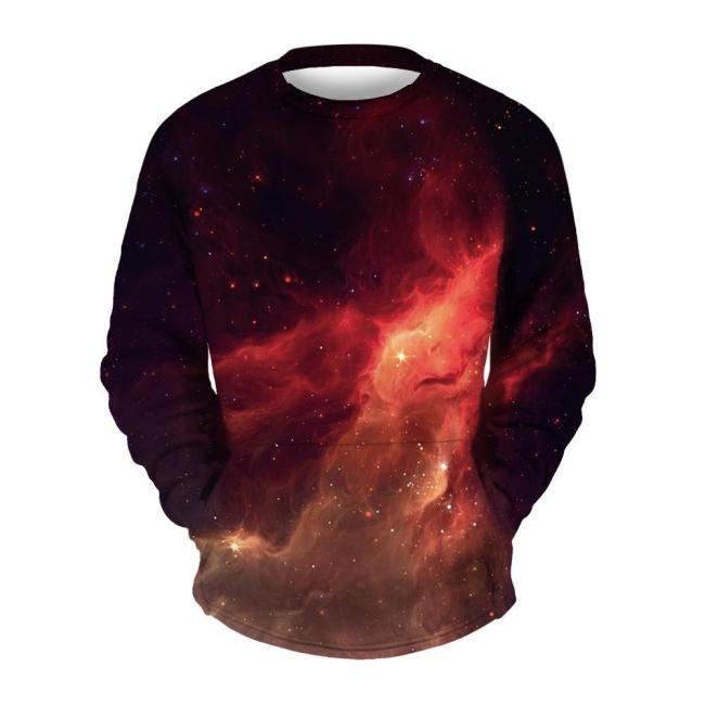 Men's Red Star Print Printed Collar Sweater