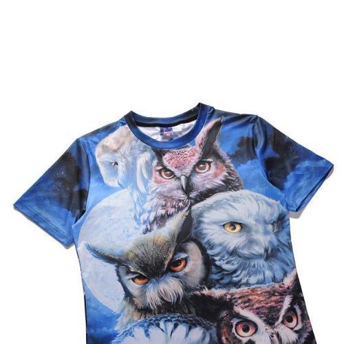 Creative 3D Owl Print Crew Neck T-Shirt