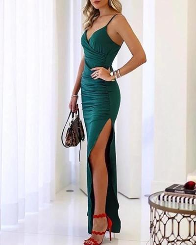 Sexy Sling V Neck Slit Slim Evening Dress