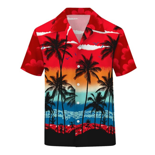 3D Tree Printed Fashion Men Casual Loose Button Down Short Sleeve Beach Hawaiian Shirt
