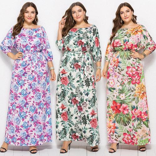 Autumn Elegant Tunic Maxi Floral Print Dress Women Plus Size 3XL 7 Style O Neck A Line Vittage Long Dresses Party Casual Vestido